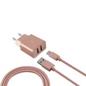 Ksix Metal Network Charger with USB Cable (2 USB Outputs, 2.4A)